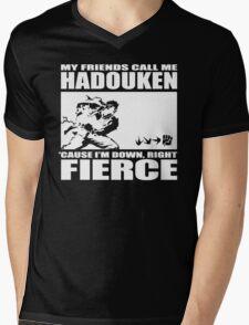 Street Fighter - Down, Right, Fierce Mens V-Neck T-Shirt