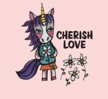 Cherish Love: Unicorn Drawing Watercolor Illustration  Kids Clothes