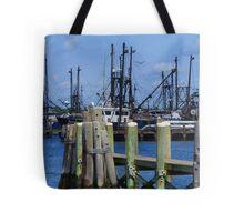 Block Island Harbor Shipyard Tote Bag