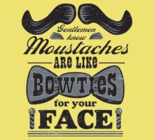 Moustaches: Bowties for Your Face (Black Type) Kids Clothes