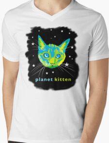 Planet Kitten Mens V-Neck T-Shirt