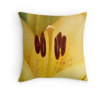 Stamens of a yellow Day Lily Throw Pillow