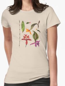 Orchids and Ink on Black Womens Fitted T-Shirt