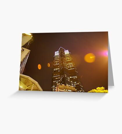 Skyscraper lightshow Greeting Card