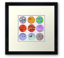 Super cute planet space faces  Framed Print