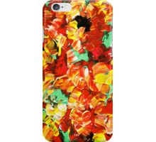 FLORAL FANTASY 3 Bold Abstract Flowers Acrylic Textural Painting Sunshine Yellow Rust Red Green Art iPhone Case/Skin