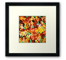 FLORAL FANTASY 3 Bold Abstract Flowers Acrylic Textural Painting Sunshine Yellow Rust Red Green Art Framed Print