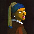 (Reversed) Girl With a Pearl Earring (after Vermeer &amp; M Groening) by Donnahuntriss