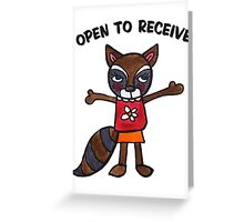 Open to Receive: Cute Raccoon Drawing Watercolor Illustration Greeting Card