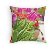 Tulips in Holland Park Throw Pillow
