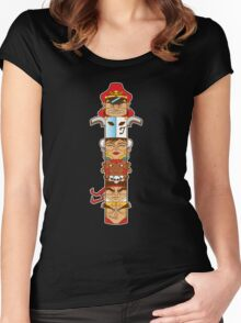 Street Fighter 2 Totem Women's Fitted Scoop T-Shirt