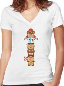 Street Fighter 2 Totem Women's Fitted V-Neck T-Shirt