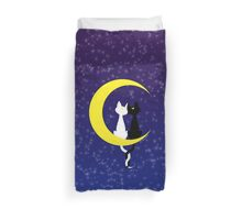 Cats in love on the moon Duvet Cover