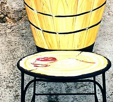 Basket of apples-Wrought iron chair painted in acrylic by Francesca Romana Brogani