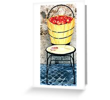 Basket of apples-Wrought iron chair painted in acrylic Greeting Card