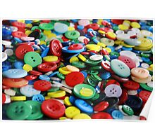 Bright primary coloured buttons Poster