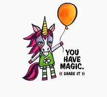 You Have Magic: Share It.  A Cute Unicorn Drawing Watercolor Illustration Womens Fitted T-Shirt