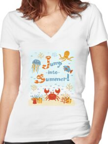 Jump into summer! Women's Fitted V-Neck T-Shirt
