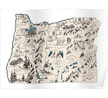 Oregon Vintage Picture Map Poster