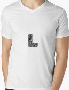 Sketchy Letter Series - Letter L Mens V-Neck T-Shirt