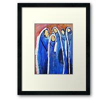 Blue muslim women burqa, Community Framed Print