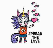 Spread the Love: Unicorn Drawing Watercolor Illustration Womens Fitted T-Shirt