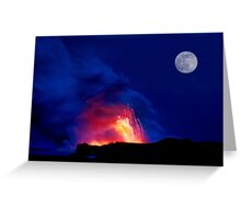 Moon Over Kilauea Volcano at Kalapana  Greeting Card