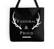'Fannibal & Proud' (Black Background/White Font) Tote Bag