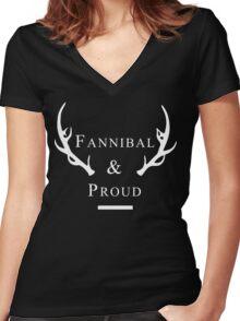 'Fannibal & Proud' (Black Background/White Font) Women's Fitted V-Neck T-Shirt