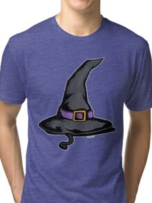 Cute Witches Hat Cat Halloween Tri-blend T-Shirt
