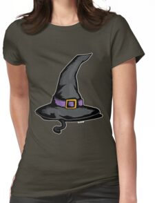 Cute Witches Hat Cat Halloween Womens Fitted T-Shirt