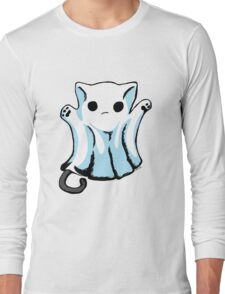Cute Boo Ghost Cat Halloween Long Sleeve T-Shirt