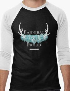 'Fannibal & Proud' w/ Flower (Black Background/White Font) Men's Baseball ¾ T-Shirt
