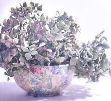 Flowered Bowl with Blue Hydrangea by Margi