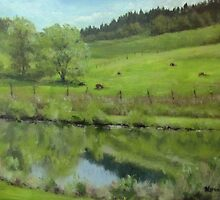 Pond at the Vineyard by Karen Ilari
