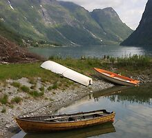 Restful boats - Sojnofjord, Norway by Malcolm  Maggs