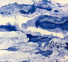 Ocean Waves on Textured Paper Abstract by BrandiBruggman