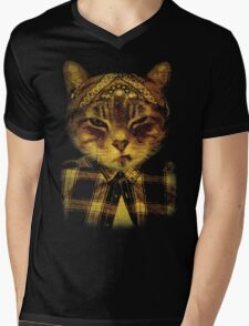 Gangster Cat Mens V-Neck T-Shirt