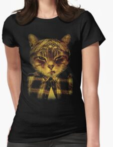 Gangster Cat Womens Fitted T-Shirt