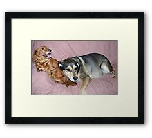 The Babysitter Laying Down On The Job Framed Print