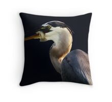 Great Blue Heron with his Prize Fish Throw Pillow