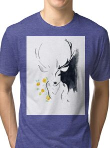 Oh, deer flowers Tri-blend T-Shirt