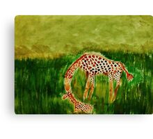 Mother and baby Girraffe, watercolor Canvas Print