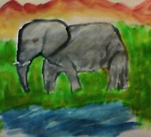 Elephant, watercolor by Anna  Lewis
