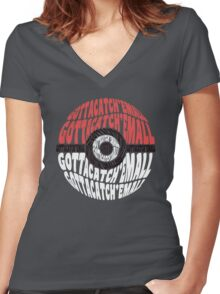Typo ball Women's Fitted V-Neck T-Shirt