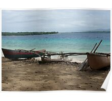 Three Canoes on the Shore. Poster