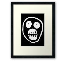 The Mighty Boosh – Big Mask (White) Framed Print