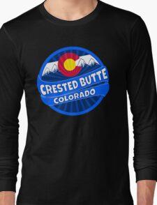 Crested Butte Colorado flag mountain burst Long Sleeve T-Shirt