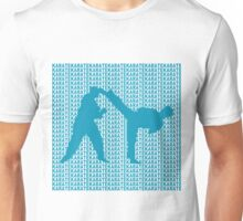 Karate Side Kick With Text Background Blue  Unisex T-Shirt