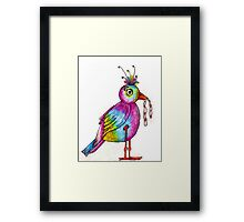 Early Bird Catches the Worm Illustration Framed Print